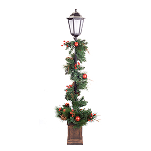 Green and Red 5 Ft. Potted Lantern with Pine