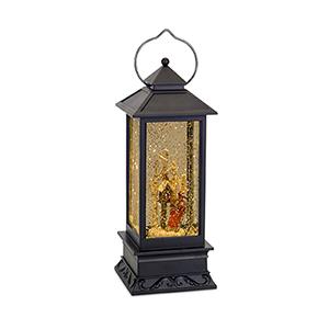 Lantern Snow Globe with Birdhouse and Sled