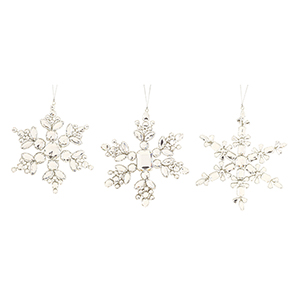 Silver and White Jewel Snowflake Ornament, Set of 12