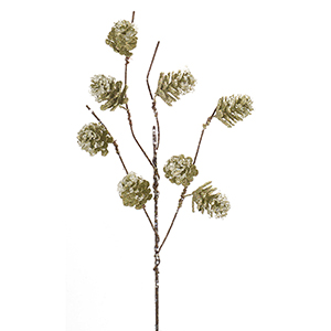 Green Pine Cone Branch, Set of 12