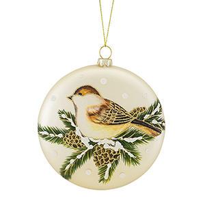 Bird and Pine Disc Ornament, Set of 12