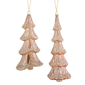 Pink and Silver Tree Ornament, Set of Six