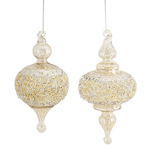 Silver and Gold Finial Reflector Ornament, Set of Six