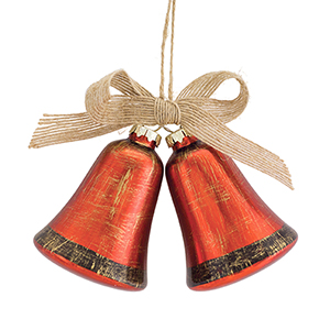 Red and Gold Bell with Bow Ornament, Set of 12