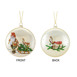 Santa and Sled Disc Ornament, Set of Six