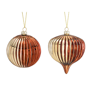 Red and Gold Ball and Drop Ornament, Set of Six
