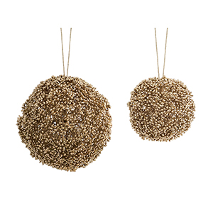 Champagne Seeded Ornament, Set of Eight