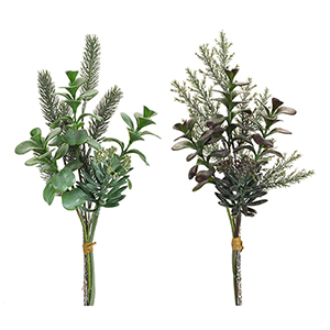 Green and Purple Pine and Succulent Bundles, Set of Four