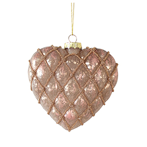 Rose Gold Heart Ornament, Set of 12