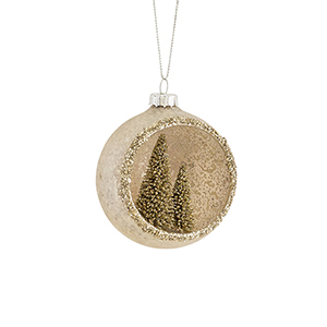 Pink and Gold Ornament with Trees, Set of Six
