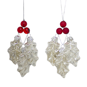 Holly and Berry Ornament, Set of 12