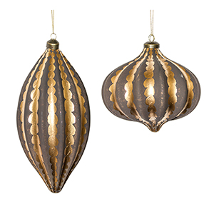 Brown and Gold Ornament, Set of Four