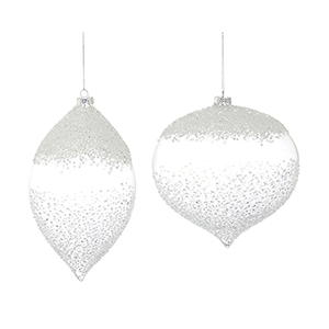 White and Clear Glass Ornament, Set of Four