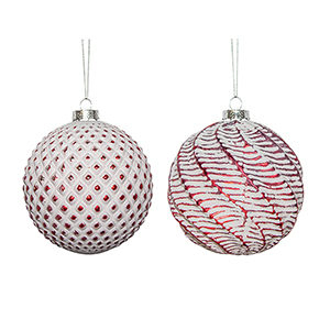 Red and White Ball Ornament, Set of Six