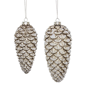 Silver and White Pine Cone Ornament, Set of 12