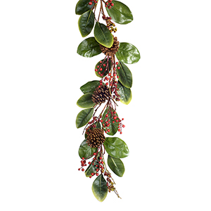 Magnolia Leaf, Berry and Cone Garland, Set of Two