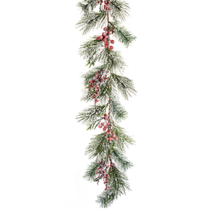Iced Pine and Berry Garland, Set of Two