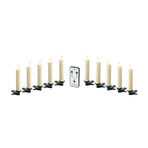 Cream Clip-On Candle with Remote, Set of 10