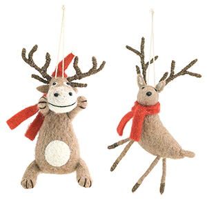Felted Wool Animal Ornament, Set of 12