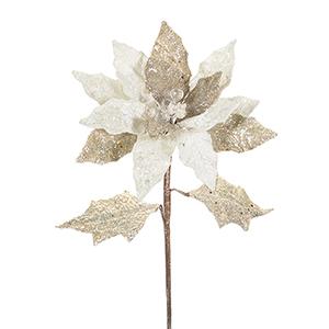 Silver Poinsettia Stem, Set of Six