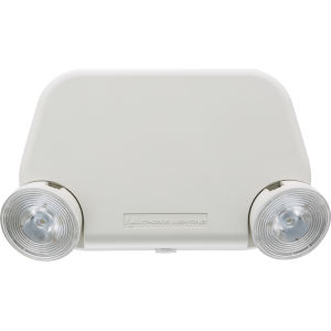 White LED Exit and Emergency Lighting Unit with Plastic Shade and Remote Capacity