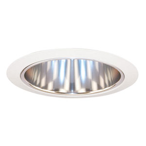 27 CWH 6-Inch Tapered Cone Clear Alzak Cone with White Trim Ring