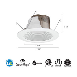 6BPMW  LED M6 5/6-Inch 15W White High Output LED Recessed Baffle Module 3000K