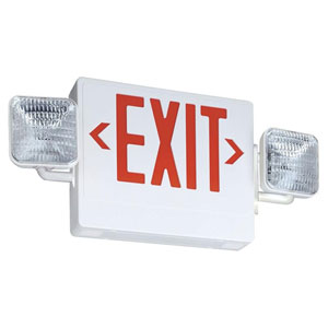 ECR LED M6 Thermoplastic LED Emergency Exit Sign and Light Fixture with Red Letters