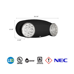 ELM2 LED B M12 Quantum 2 Light Black LED Emergency Fixture Unit