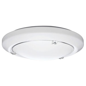FMVELL 14 20830 KR M4 Vela 14 in. White LED Round Flushmount with Nickel Ring and Double Prong Finial Accents 3000K