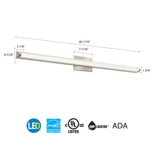 FMVCAL 48IN MVOLT 30K 90CRI BN M4 Contemporary Arrow 4 Foot Brushed Nickel 3K LED Vanity Light