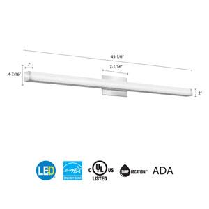 FMVCSL 48IN MVOLT 30K 90CRI KR M4 Contemporary Square 4 Foot Chrome 3K LED Vanity Light