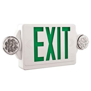 LHQM LED G HO M6 2 Light Plastic LED White Exit Sign/Emergency with LED Heads and Green Stencil High Output Battery