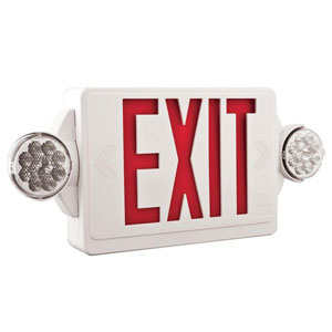 LHQM LED R HO M6 2 Light Plastic LED White Exit Sign/Emergency Combo with LED Heads and Red Stencil High Output Battery