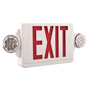 LHQM LED R M6 2 Light Plastic LED White Exit Sign/Emergency Combo with LED Heads and Red Stencil