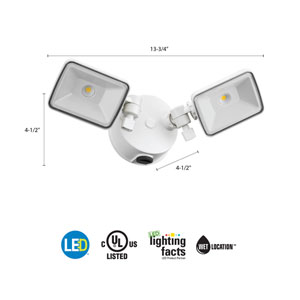 OLF 2SH 40K 120 PE WH M4 2-Head White Outdoor LED Dusk to Dawn Square Flood Light