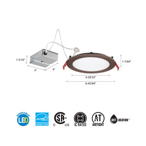 9.6W Ultra Thin 4-Inch Dimmable Recessed Ceiling Light 3000K Bronze