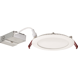12.7W LED Ultra Thin 6 Inch Round Dimmable Recessed Ceiling Light 2700K, Warm White in White