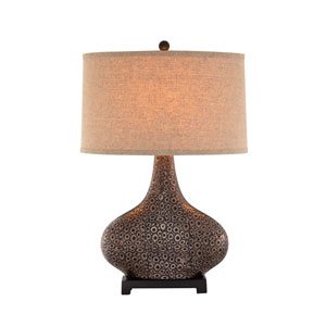 Embossed Bronze and Gold LED Table Lamp