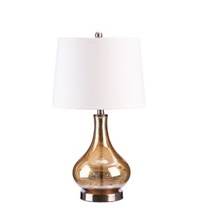 Gold Brushed Nickel and Silver Mercury Glass One-Light Table Lamp