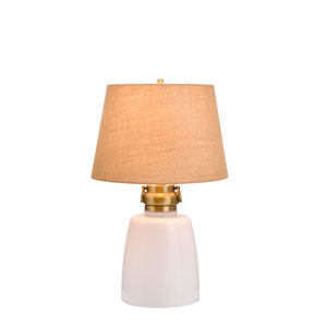 Sarasota Milk White Glass and Antique Brass LED Table Lamp