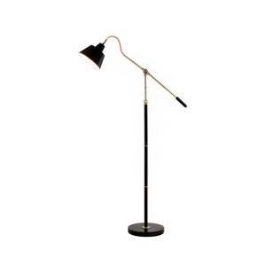 Antique Brass and Matte Black LED Floor Lamp