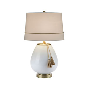 White Milk Glass with Antique Brass LED Table Lamp