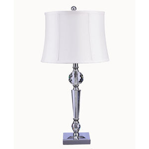 Clear Crystal and Chrome Metal LED Table Lamp