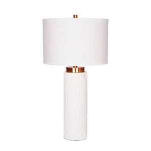 Painted White and Brass LED Table Lamp