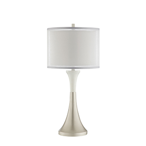 Nico Glossy Silver and White One-Light Table Lamp