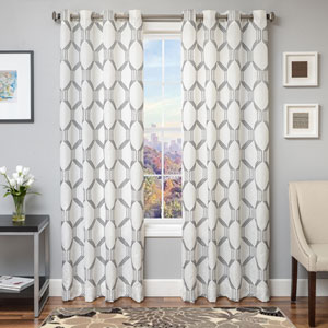 Dash Pewter 96 x 55 In. Geometric Embroidered Linen Panel