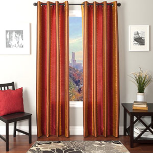 Dorian Red Gold 84 x 55 In. Ikat Inspired Jacquard Panel