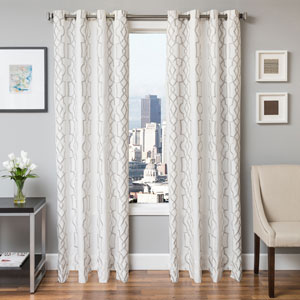 Taylor Silver 84 x 55 In. Geometric Embroidered Cotton Blend Panel