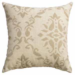 Archer Natural 8 x 8 In. Scroll Jacquard Linen Decorative Pillow